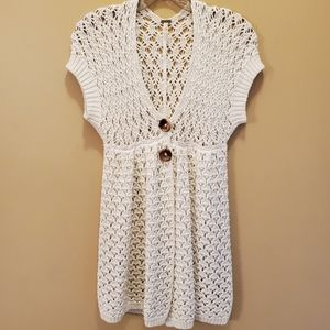 Free People Cream Open Knit Babydoll Cardigan